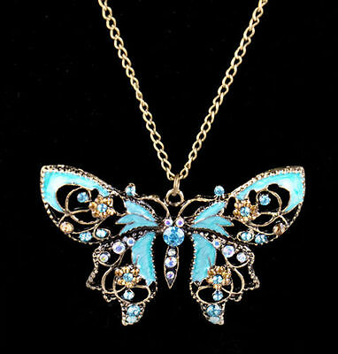 Ladies 1PC Retro Hollow Butterfly Rhinestone Crystal long chain Pendant Necklace