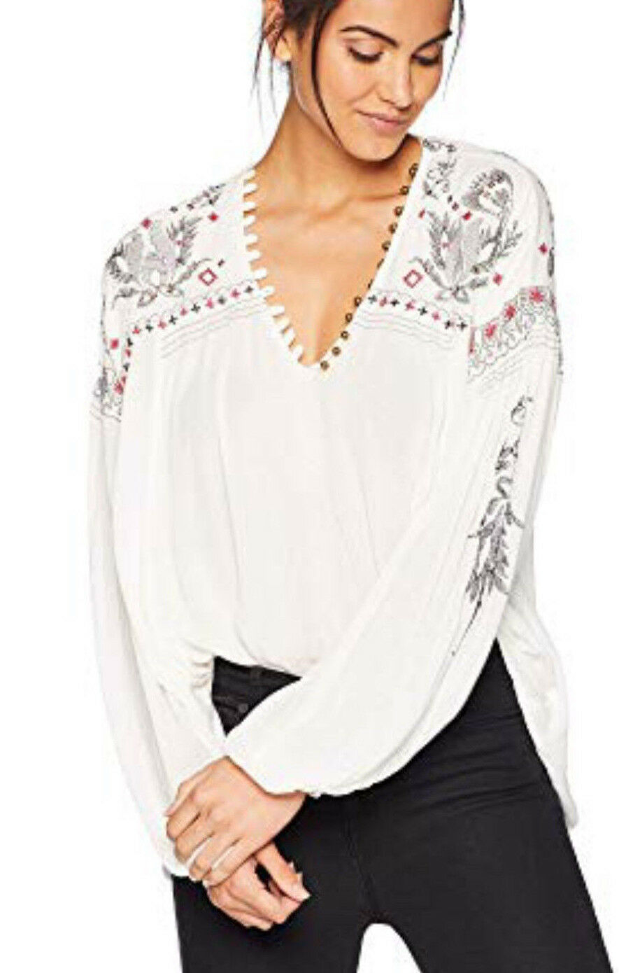 Free People OB834527 Rock It Tonight Embroiderot Peasant Blouse M Ivory