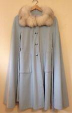 vintage women's long Dressy winter bridal cape cloak Theater blue fur lollita