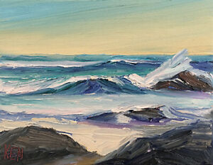 BACK-WASH-Original-Expression-Seascape-Pacific-Ocean-Painting-8x10-032519-KEN