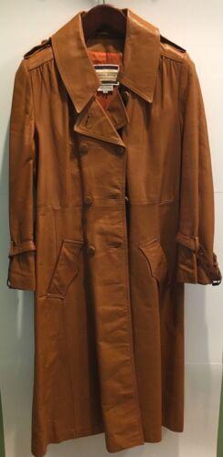 Vintage 1970's Women's Leather Trench Coat L Taran