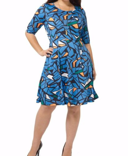 Triste Cerulean Stained Glass Fit And Flare Dress Size 0X