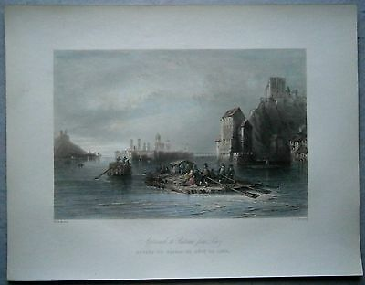 1842 Bartlett print APPROACH TO PASSAU FROM LINZ, DANUBE, BAVARIA, GERMANY (#31)