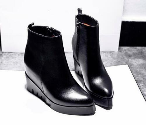 Womens Leather High Wedge Heels Pointed Toe Ankle Riding Boots Zipper Shoes F787