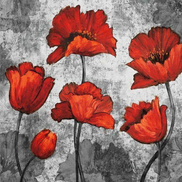 Brian Francis  Sera Rosso i Barella-Immagine Schermo Mohn-Blumen Rosso Moderno