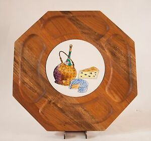 ... Hexagon Shaped Wooden Serving Tray with Center Ceramic Tile | eBay