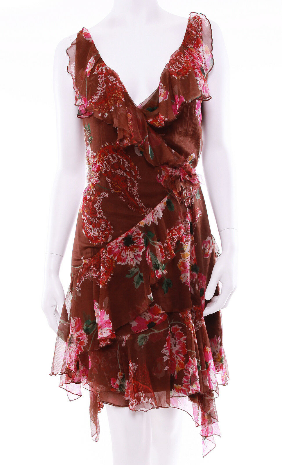SIZE S Bebe Brown Floral Raffles Wrap Sleeveless Dress Small