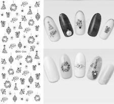 Christmas Nail Art Water Decals Transfers BLACK Snowflakes Trees Gel Polish 266