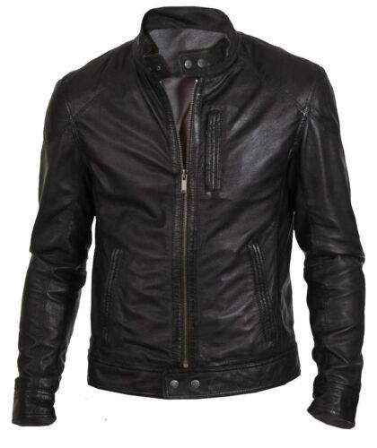 New Men/'s Bomber Biker Vintage Black Genuine Leather Slim fit Jacket XS-3XL B24