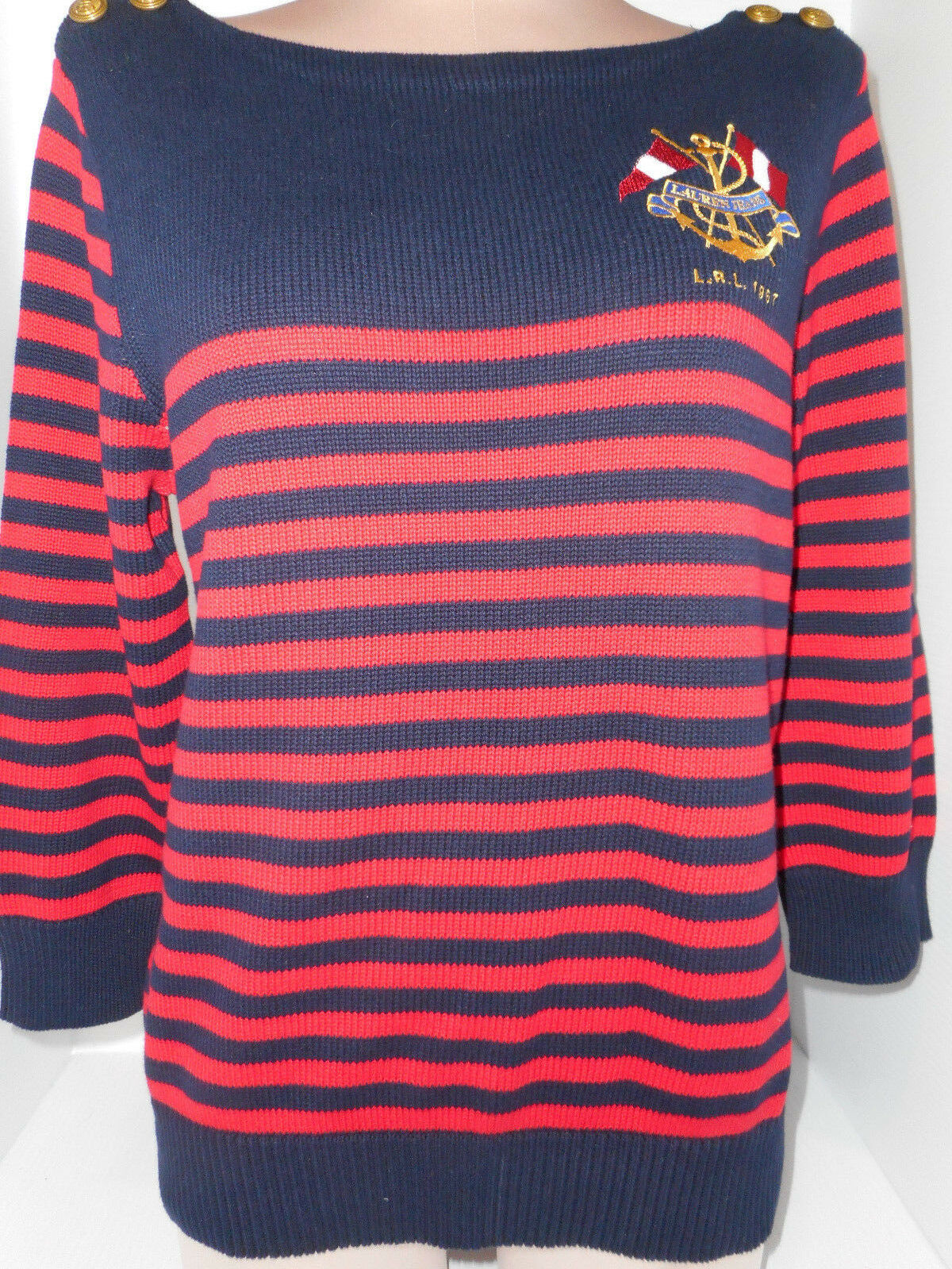 Lauren Ralph Womens Pull-Over Sweater  Shoulder Buttons Vintage Red bluee Large