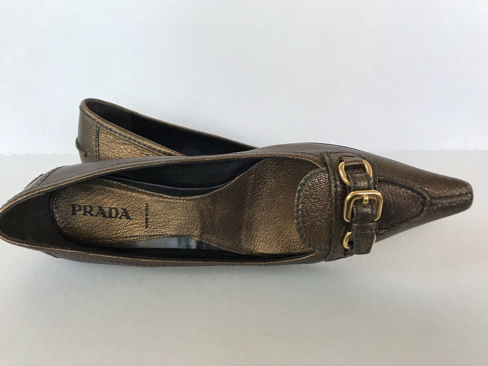 Vintage 1990s Prada Pointy Toe Bronze Leather Buc… - image 2