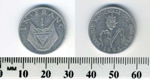 National Arms Rwanda 1985-1 Franc Aluminum Coin