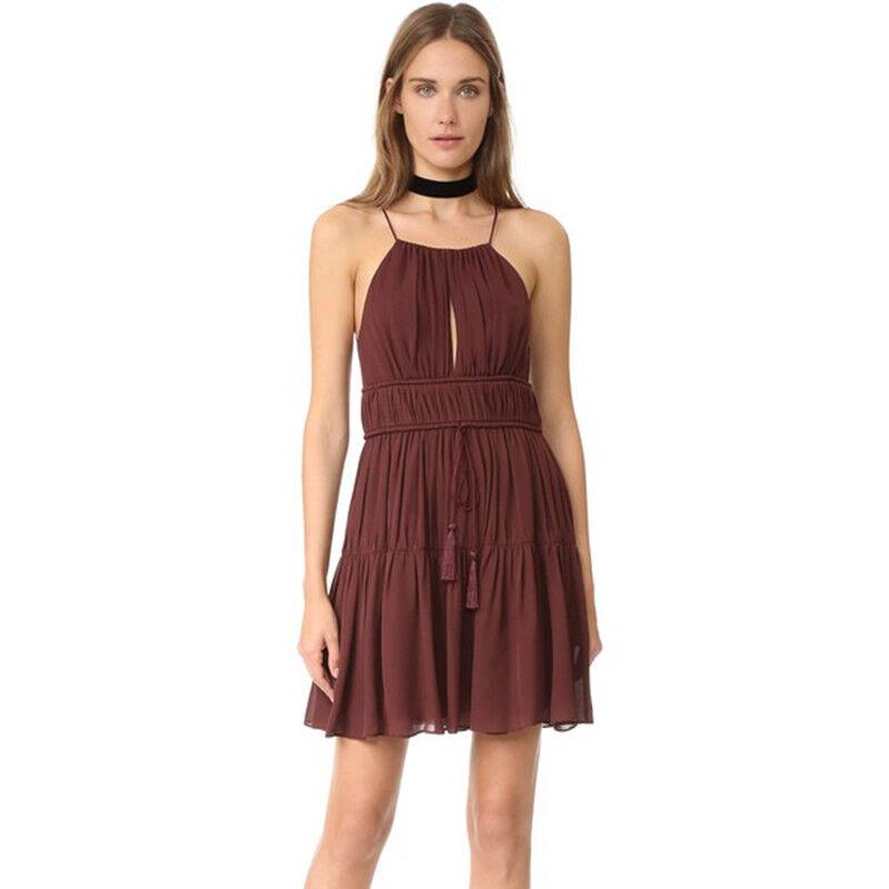 Cinq a Sept Rum Raisin Burgundy Pleated Pleated Pleated Silk Sleeveless Flare Short Dress M 669213