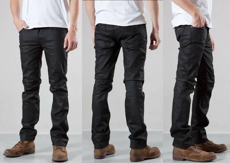 W28 L32 28 32 Nudie Jeans Slim Jim Dry Noir Enduit très rare coupe slim ciré