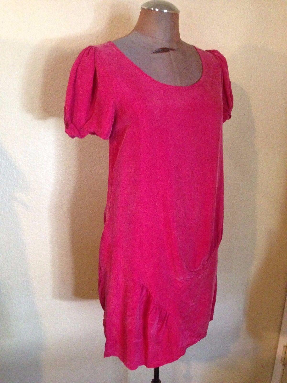 MARNI 100% Silk Dress Straight Shift Short Puff Sleeves Knee Length Pink Size XS