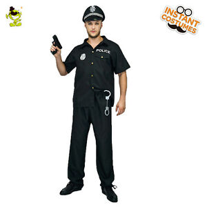 Adult New York Cop Men's Police Costume Uniform Fancy Dress