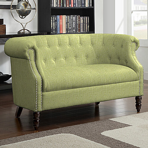 Green Tufted Loveseat English Accent Living Room Wood Furniture Settee Sofa C