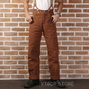 Bronson-Repro-1873-Duck-Canvas-Pants-Vintage-Men-039-s-Fatigue-Logger-Trousers-Brown