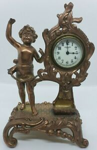 Antique Working New Haven Angel Cherub Victorian Art Nouveau Mantel Shelf Clock