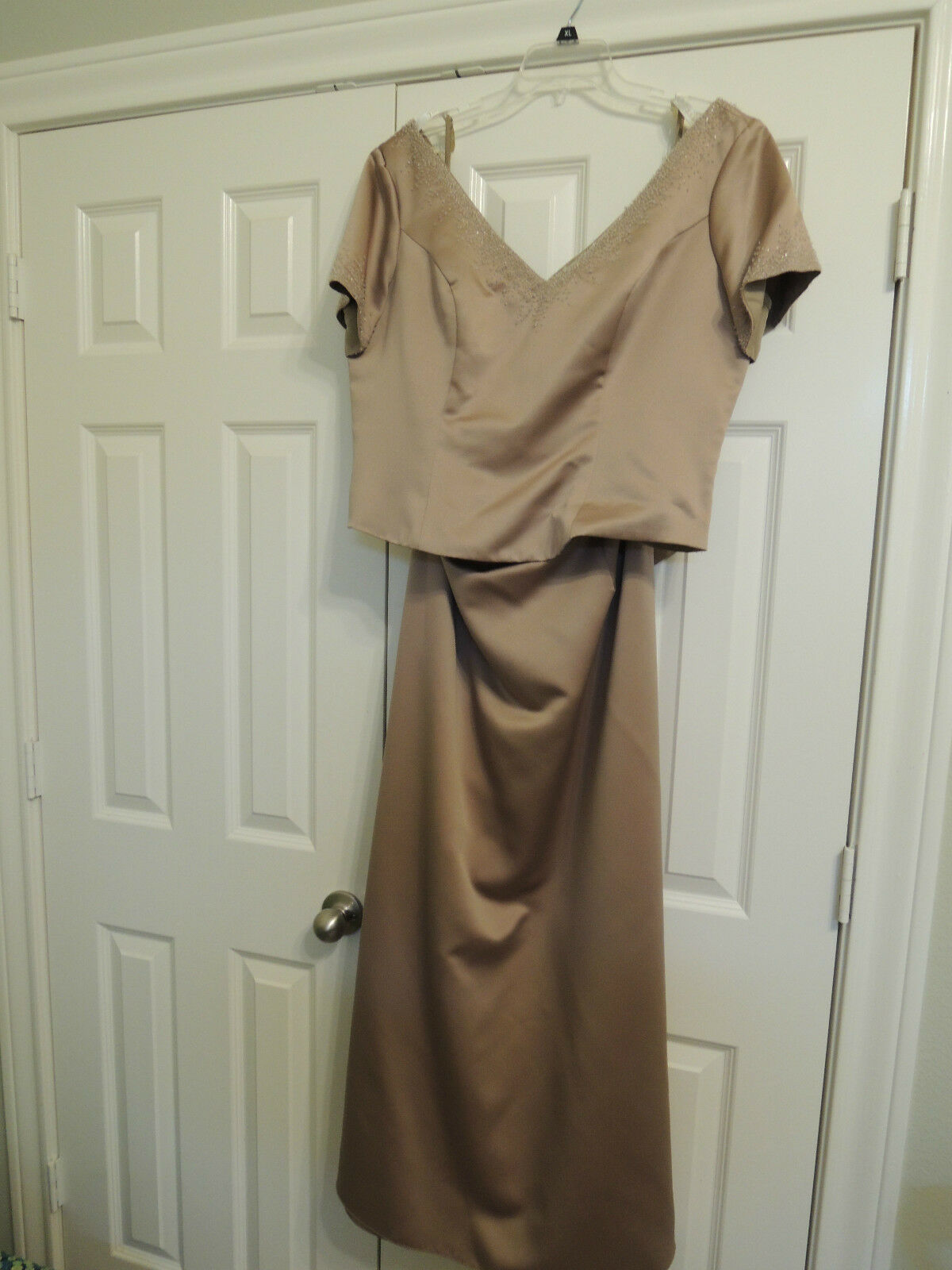 2 piece Beaded Taupe Bridesmaid Dress Size 16 Poly Forever Yours ShortSleeve