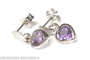 9ct-White-Gold-Amethyst-Heart-Drop-Earrings-Made-in-UK-Gift-Boxed