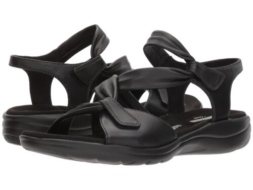 Clarks SAYLIE MOON Womens Black Leather 33689 Casual Comfort Sandals