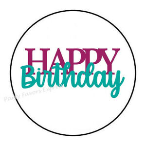 """30 HAPPY 100TH BIRTHDAY ENVELOPE SEALS LABELS STICKERS PARTY FAVORS 1.5/"""" ROUND"""