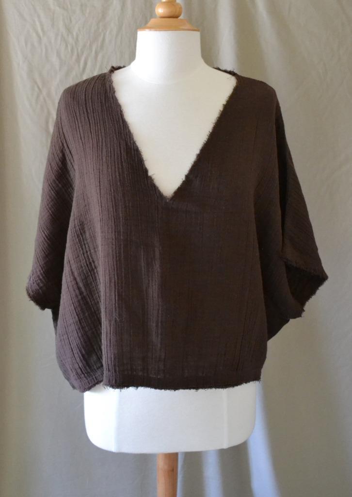 Anaak braun Cotton Boxy Short Sleeve Top Größe 1 - Small