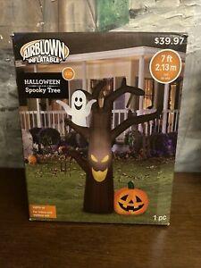 Airblown-Inflatable-7-Ft-Tall-Spooky-Tree-Ghost-Pumpkin-Halloween-Gemmy