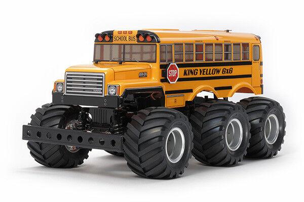 Tamiya 58653 King Yellow School Bus 6x6 - DEAL BUNDLE with STEERWHEEL Radio