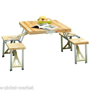 Wooden Picnic Table 4 Chair Set Portable Folding Wood Camping Garden ...