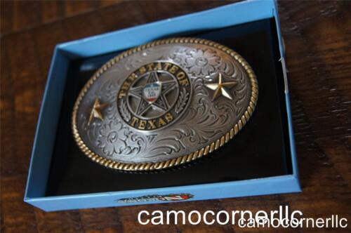 Nocona Gold Rope Edge The State of Texas Star Est 1845 western belt buckle 37372