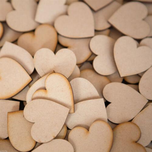 50Pcs inachevée en bois COEURS Bois Découpe Craft Pour Mariage Fête Décoration 6 cm
