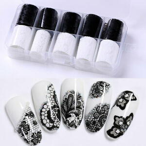 10-Rolls-Box-Holographic-Nail-Foils-Xmas-Starry-Nail-Art-Transfer-Stickers-Lace