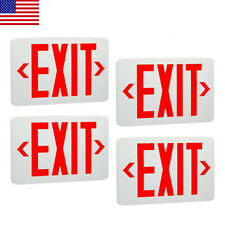 4 Pack Abs Red Led Exit Sign Ul Emergency Light Dual Led Lamp Fire Resistance