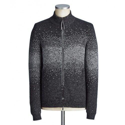 £ 325.00 John Varvatos en laine mélangée gris Tricot Zip Cardigan Pull RRP