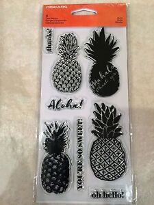 Clear-Acrylic-Stamp-Set-by-Fiskars-Stamps-Aloha-Pineapple-NEW