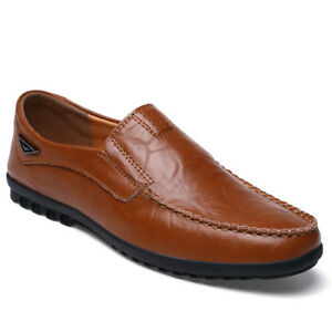 Men-039-s-Casual-Leather-Moccasins-Slip-On-Flats-Driving-Loafers-Comfort-Boat-Shoes