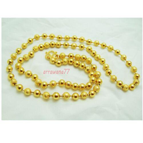 Beaded 22K 23K 24K THAI BATH YELLOW GOLD GP 24 inch NECKLACE Jewelry N120
