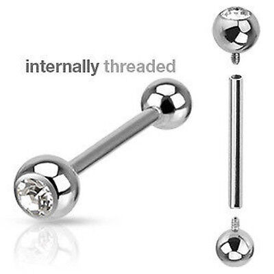 Clear Gem Internally Threaded 14g or 16g Barbell Tongue, Tragus, Nipple Ring
