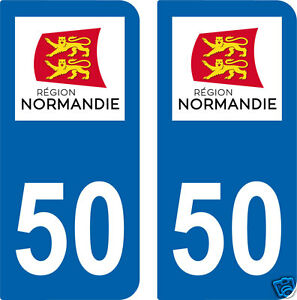 2 stickers 50 style plaque d 39 immatriculation d partement 50 r gion normandie ebay. Black Bedroom Furniture Sets. Home Design Ideas