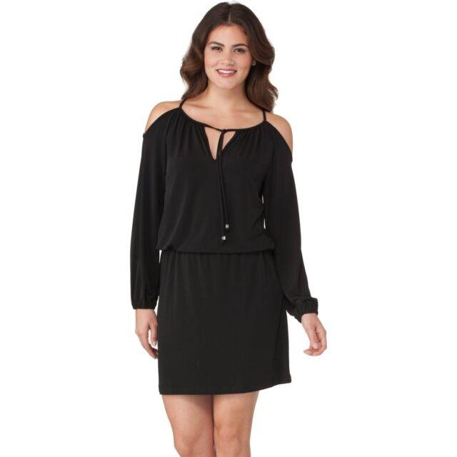 e51104ea6a Michael Kors MB98W773TW Cold Shoulder Long Sleeve Blouson Dress Black L for  sale online