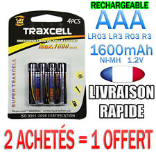 4 PILES AAA RECHARGEABLE ACCUS MIGNON 1600mAh Ni-MH 1,2V R3 LR03 • 2 = 1 OFFERT