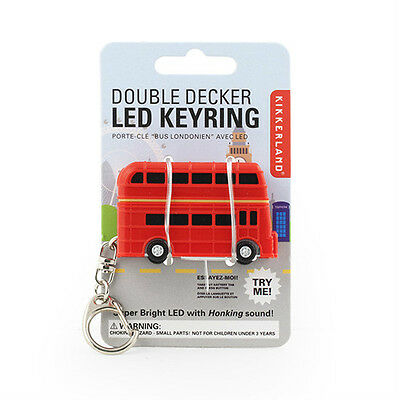 kikkerland DOUBLE DECKER LONDON BUS Keyring KRL39 w/ white headlights + Honking