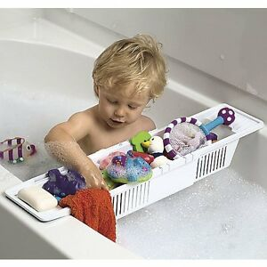 Bath Tub Toy Organizer Basket Adjustable White Storage Caddy Kids Baby Holds