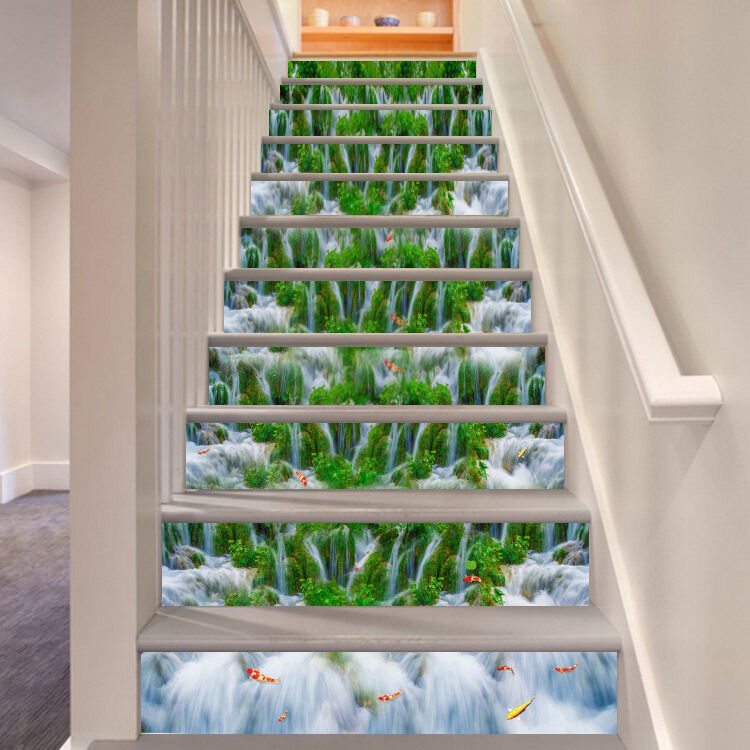 3D Streams Fishes 4 Stair Risers Decoration Photo Mural Vinyl Decal Wallpaper AU