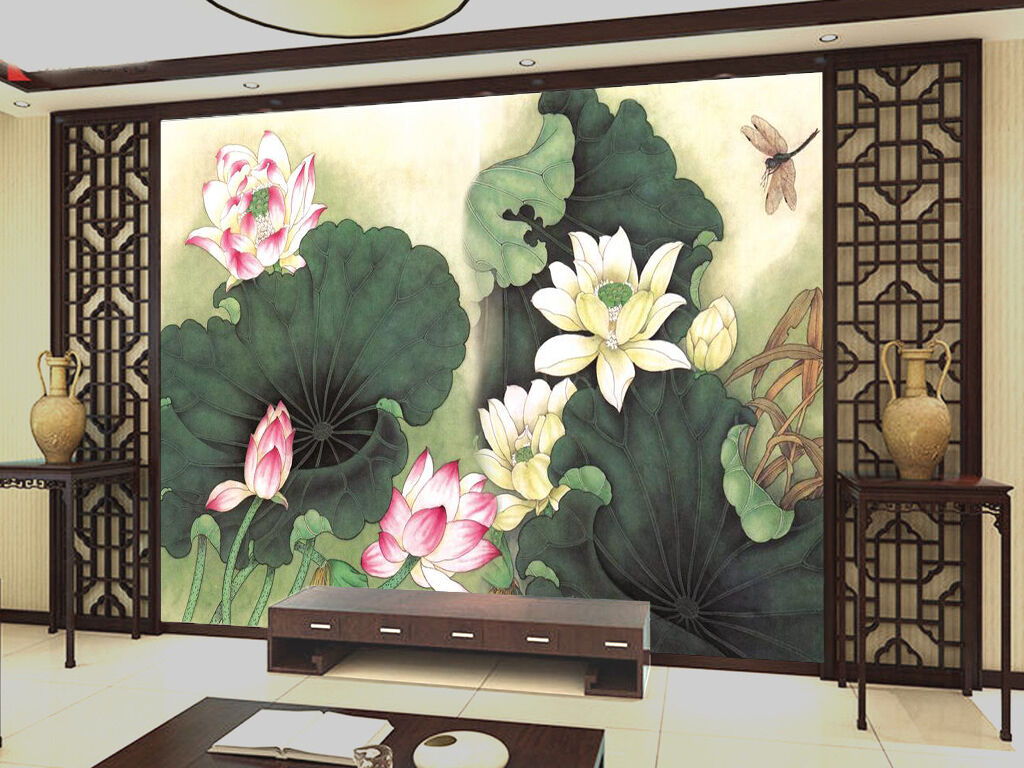 3D Lotus pond 343 Wall Paper Wall Print Decal Wall Deco Indoor Wall Murals