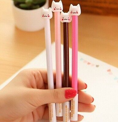 FD904 Funny Stationery Pen Cute Cat Kitten Head Ball Point Pen Random 1PC:)
