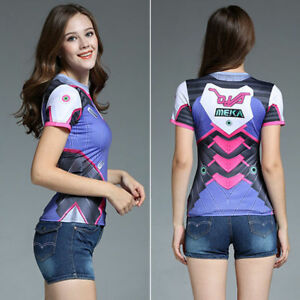c802b502d15 Image is loading Cosplay-Overwatch-Dva-T-Shirt-Women-Comprehension-Tight-
