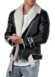 Details about Burocs BR009 Mens Jacket Faux Leather Jacket Biker Coat Black Beige S XXL show original title